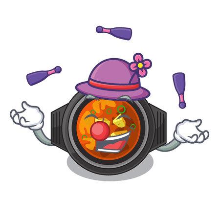 Juggling kimchi tighe above the cartoon table vector illustration Illustration