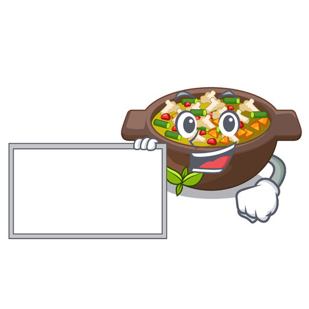 With board minestrone isolated with in the cartoon vector illustration