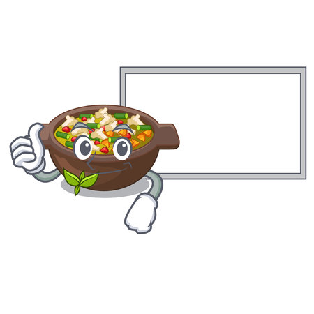 Thumbs up with board minestrone isolated with in the cartoon vector illustration Illustration