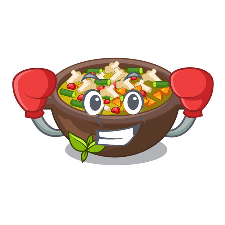 Boxing minestrone isolated with in the cartoon vector illustration Vettoriali