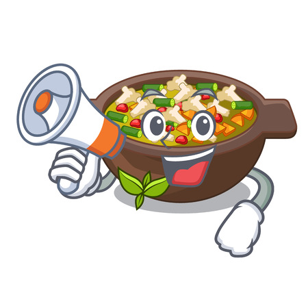 With megaphone minestrone isolated with in the cartoon vector illustration Illusztráció