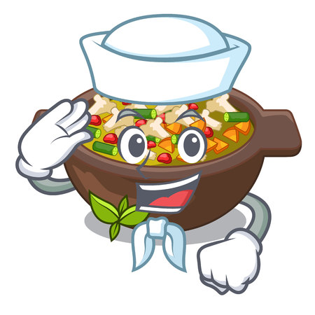 Sailor minestrone isolated with in the cartoon Illusztráció