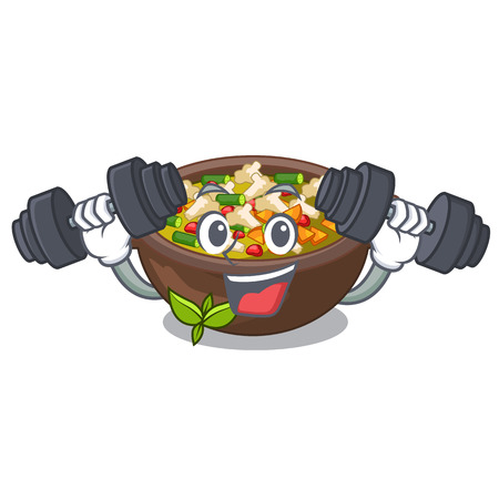 Fitness minestrone isolated with in the cartoon vector illustration