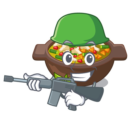 Army minestrone isolated with in the cartoon vector illustration