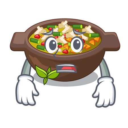 Afraid fried minestrone in the cup character vector illustration