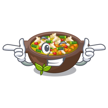 Wink minestrone is served in cartoon bowl vector illustration Illustration