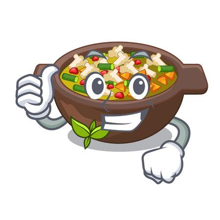 Pollice in su il minestrone è servito nell'illustrazione vettoriale della ciotola del fumetto Vettoriali