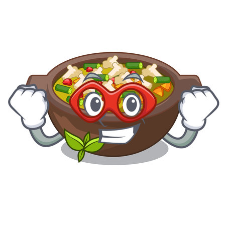 Super hero minestrone is served in cartoon bowl Illustration