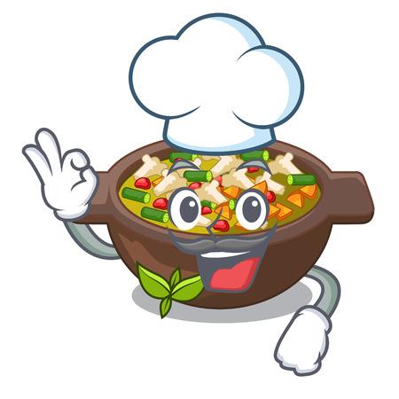 Chef minestrone is served in cartoon bowl vector illustration Illustration