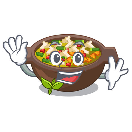 Waving minestrone is served in cartoon bowl vector illustration Illustration