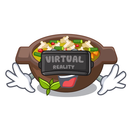 Virtual reality fried minestrone in the cup character vector illustration