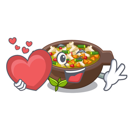 With heart fried minestrone in the cup character vector illustration