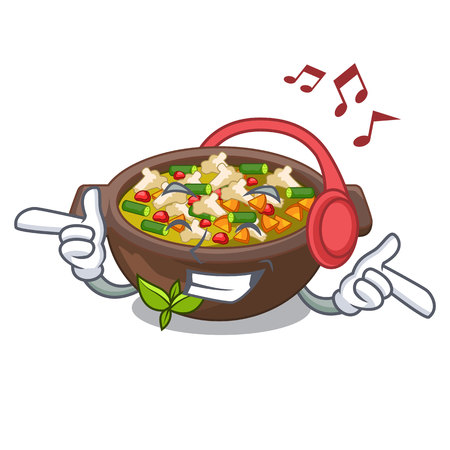 Listening music fried minestrone in the cup character vector illustration