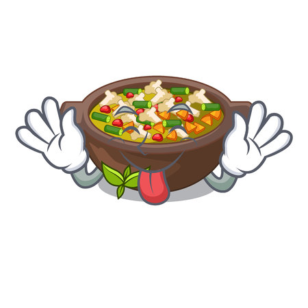 Tongue out minestrone plate above the mascot table vector illustration Illustration