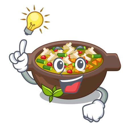Avoir une idée de plaque minestrone au-dessus de l'illustration vectorielle de table mascotte