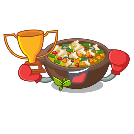 Boxing winner minestrone plate above the mascot table vector illustration