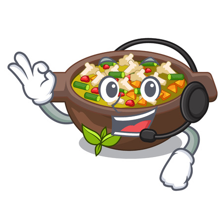 With headphone minestrone plate above the mascot table vector illustration Stock Illustratie