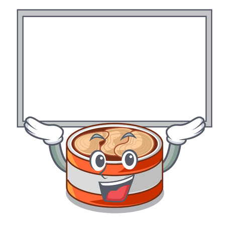 Up board canned tuna isolated with in mascot vector illustration