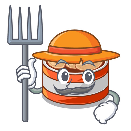 Farmer canned tuna isolated with in mascot vector illustration Standard-Bild - 122790885