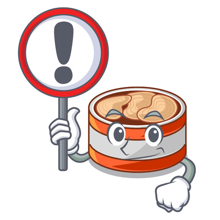 With sign canned tuna isolated with in mascot vector illustration 向量圖像