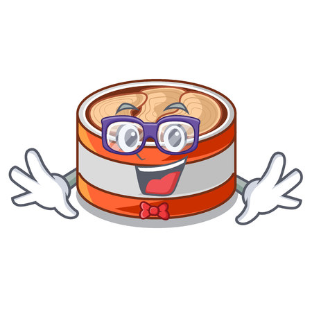 Geek canned tuna above character wooden table vector illustration