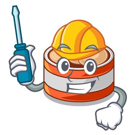 Automotive canned tuna in cartoon kitchen cabinet vector illustraion