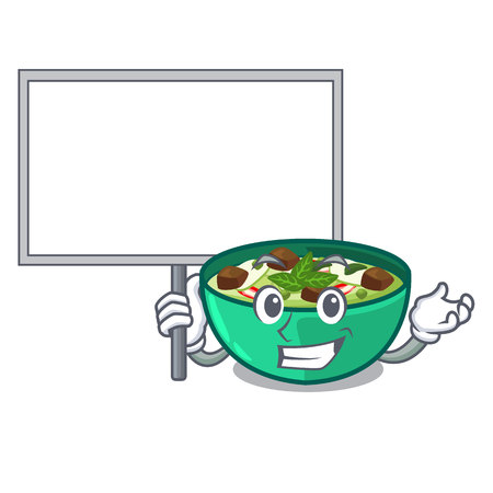 Bring board green churry served in cartoon bowl vector illustration