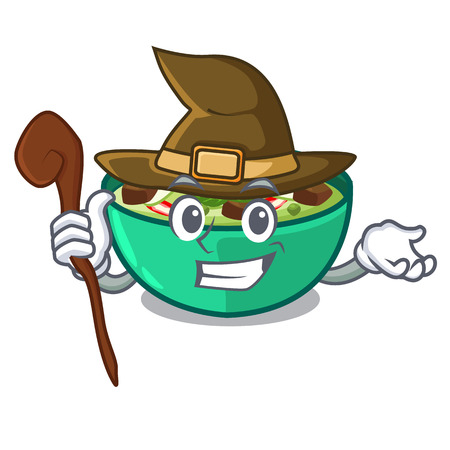 Witch green curry in the character shape vector illustration