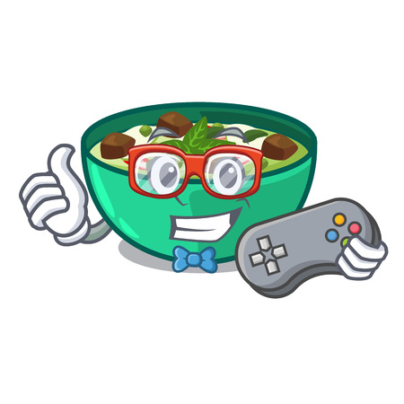 Gamer green curry in the character shape vector illustration