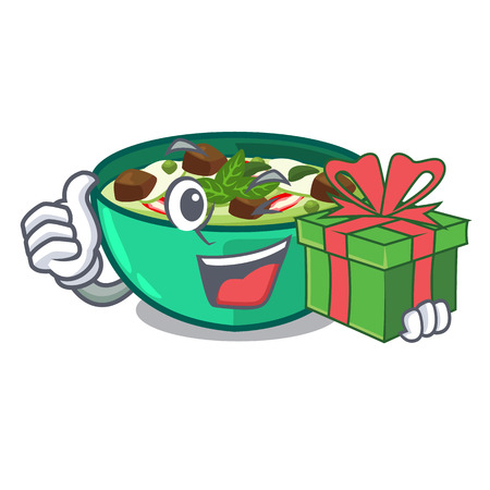 With gift green curry in the character shape vector illustration