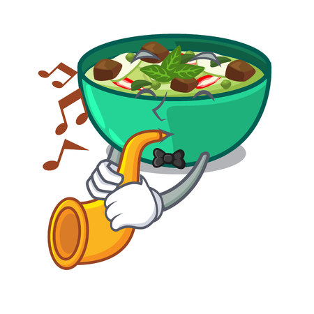 With trumpet green curry in the character shape vector illustration Illustration