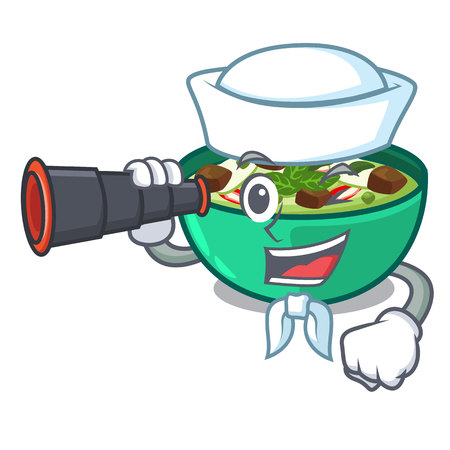 Sailor with binocular green curry in the character shape vector illustration Illustration