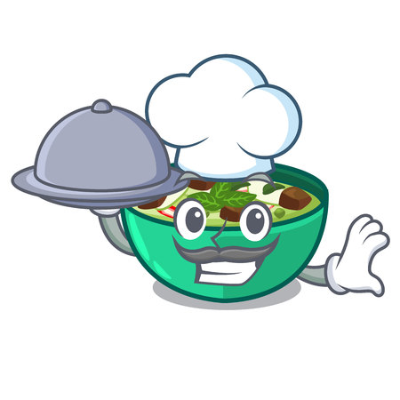 Chef with food green curry in the character shape vector illustration