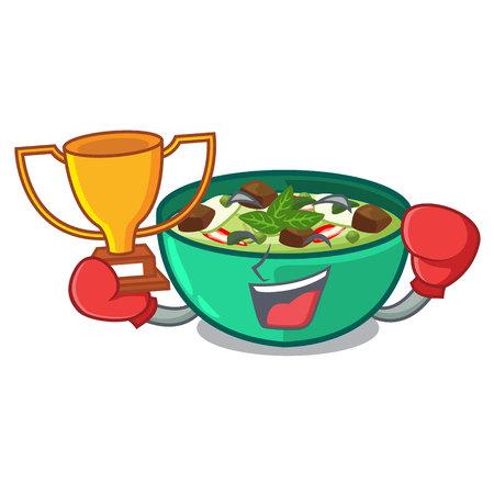 Boxing winner green churry isolated with the cartoon vector illustration Фото со стока - 122791023