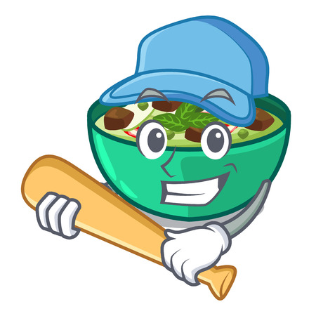 Playing baseball green churry served in cartoon bowl vector illustration Stock Illustratie