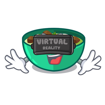 Virtual reality green curry in the character shape vector illustration Illustration