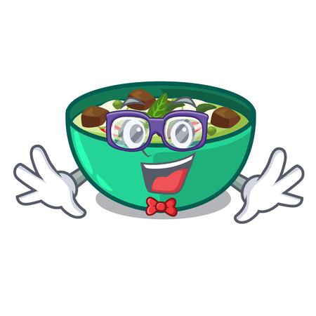 Geek green churry above mascot table wood vector illustration Illustration