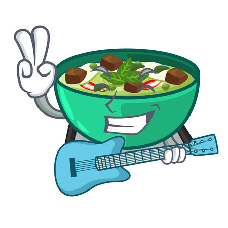 With guitar green curry in the character shape vector illustration