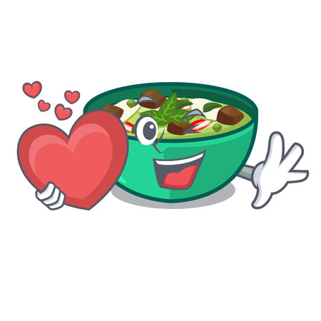 With heart green curry in the character shape vector illustration