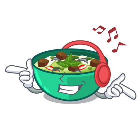 Listening music green curry in the character shape vector illustration
