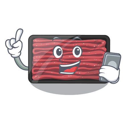 With phone minced meat isolated in the character vecto illustration Иллюстрация