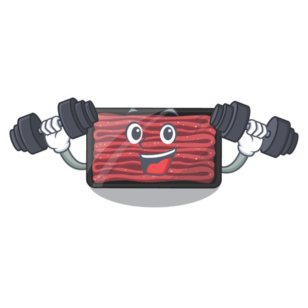 Fitness minced meat isolated in the character vecto illustration