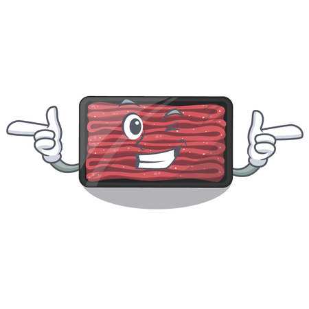 Wink minced meat on a mascot plate vector illustration