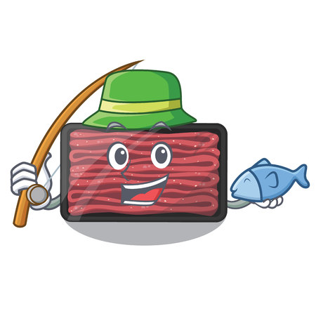 Fishing minced meat in the cartoon fridge Stock Illustratie
