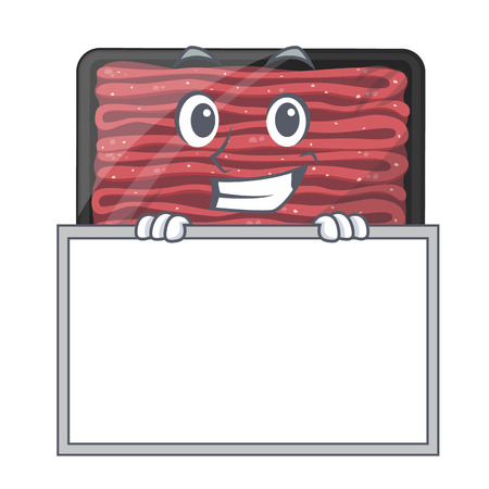 Grinning with board minced meat isolated in the character vecto illustration