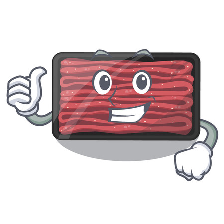 Thumbs up minced meat on a mascot plate vector illustration