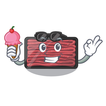 With ice cream minced meat on a mascot plate vector illustration