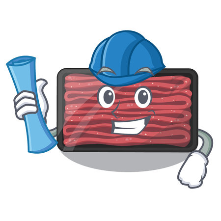 Architect minced meat on a mascot plate vector illustration 일러스트