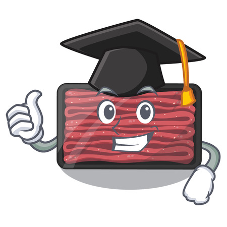 Graduation minced meat on a mascot plate vector illustration Çizim
