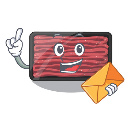 With envelope minced meat on a mascot plate vector illustration